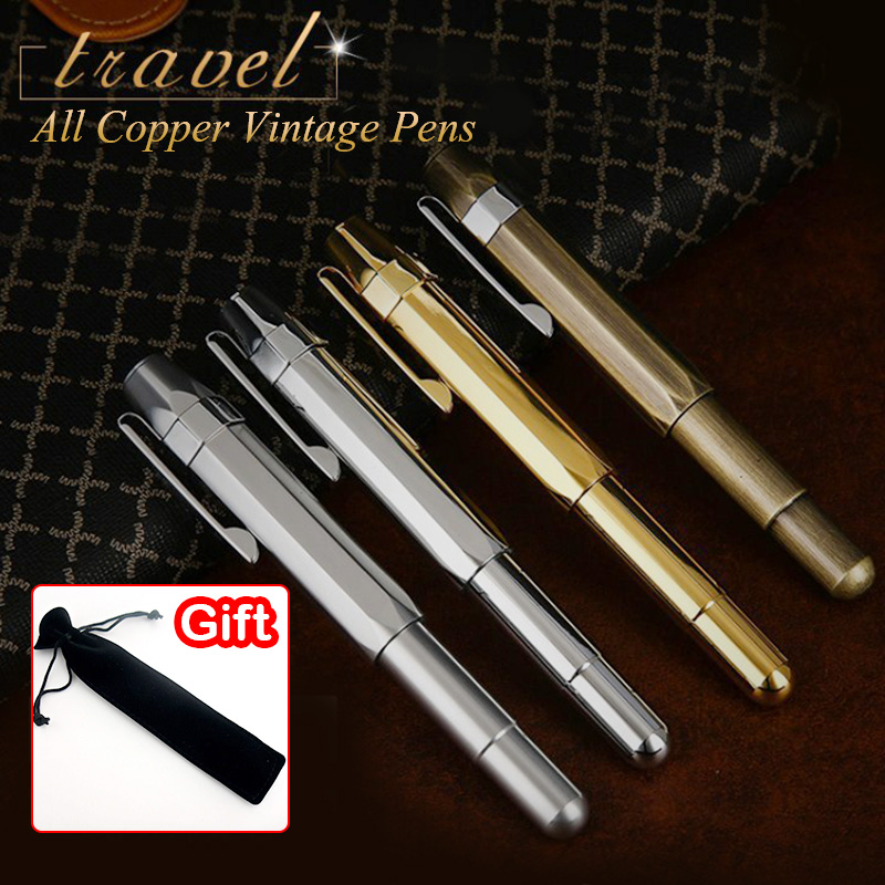 High Quality Vintage Brass Fountain pen ink pen nib Metal Stylo plume Stationery Caneta tinteiro Vulpen Penna stilografa 876 hot sell feather pen vintage fountain pen ink pen nib stationery vulpen 16 colors stylo plume canetas penna stilografica 03874