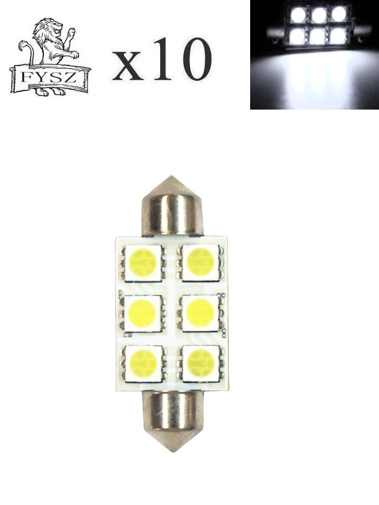Image 5 - 10pcs Festoon 39mm LED 5050 Auto Lamp Bulb 3W 6 SMD 6000k 200lm White Light Car Reading 5050 / Indicator/Roof Lamp (DC/12V)-in Signal Lamp from Automobiles & Motorcycles