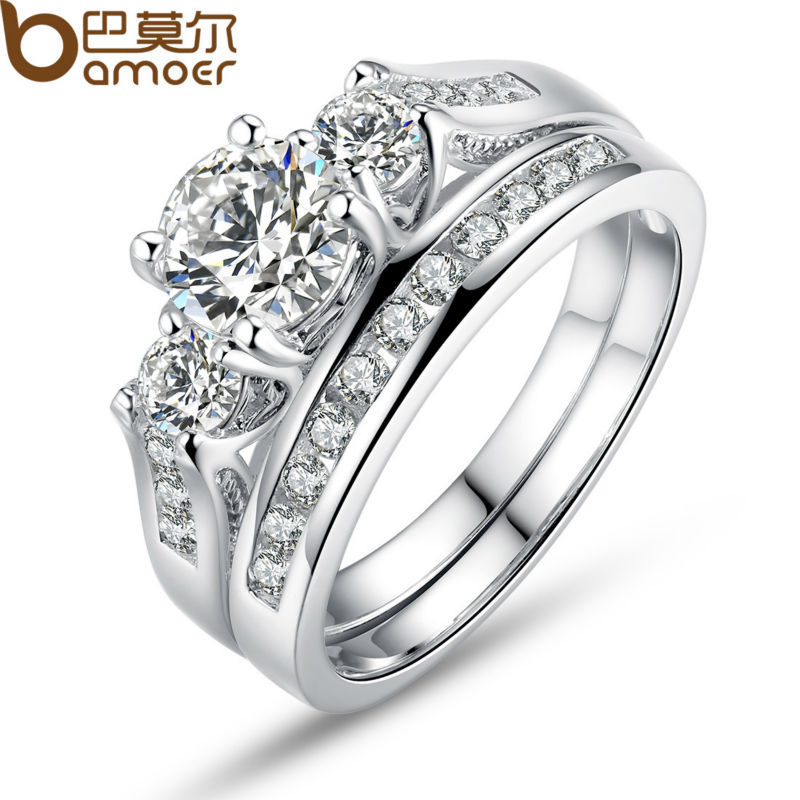 BAMOER White Gold Color Double Finger Ring for Women with Paved Micro AAA Cubic Zircon Lady Jewelry Free Shipping YIR024