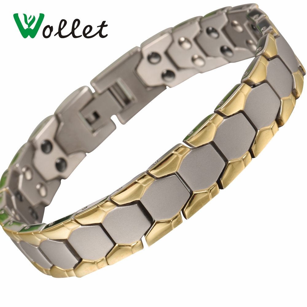 2017Wollet Fashion Jewelry Healing Energy Magnet Gold Color Magnetic Hematite Germanium Pure Titanium Bracelet for Men