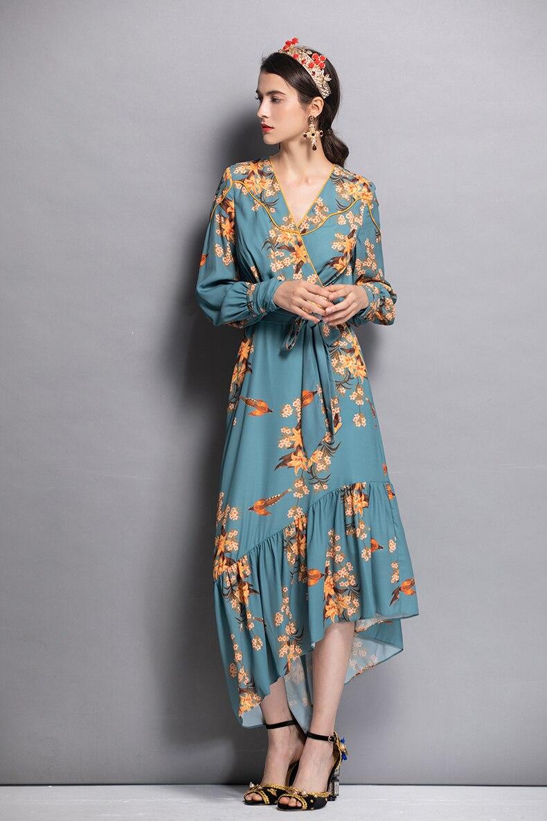 Asymétrique Cou Manches Nouvelle Sexy 2018 As Pic Taille Vêtements Arrivée Mode Imprimer Robe Femmes Plus Ceintures V Longues À Vintage Empire De 8xwqdvwH