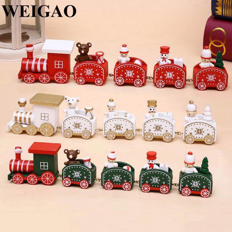 WEIGAO Christmas Little Wooden Train Ornaments Christmas Gift Toy For Kids New Year Xmas Navidad Decoration For Home Supplies