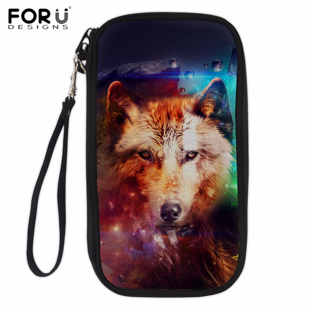 Us 10 87 32 Off Forudesigns Women Card Holder Wolf Printing Passport Cover Men Business Card Holder Card Organizer Holder Credit Card Cover 2018 In