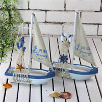 12 Inch Sailboat Craft Mediterranean Home Decoration Accessories Furnishings Classic Sailing Boat Wood Handicrafts Birthday Gift