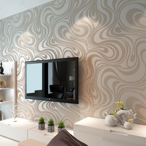 Image 4 - Moderne Abstrakte Luxus 3D Wallpaper Rolle Wand Beflockung Kurve Gestreiften Non Woven TV Sofa Hintergrund Wand Papier für Wände Lila