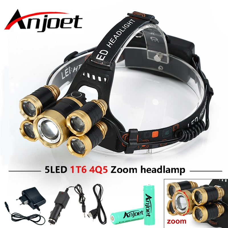 CREE 5*LED XML T6 Headlight 20000 Lumens 4mode Zoomable Headlamp Rechargeable Head Lamp flashlight+2*18650 Battery+AC/DC Charger фонарик ultrafire cree xml t6 cree xml t6 zoomable 2000lm 2 18650 dc fl028b bt021