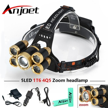 CREE 5*LED XML T6 Headlight 20000 Lumens 4mode Zoomable Headlamp Rechargeable Head Lamp flashlight+2*18650 Battery+AC/DC Charger ndtusmz 6000 lumen cree xm xml t6 led koplamp zaklamp hoofd lamp light not include 2 18650 oplader and auto charger