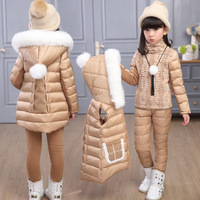 Russia Winter Girls Clothing Sets Hooded Warm Vest Jacket+Warm top Cotton Pants 3 Pieces Set Girl Cotton Coat With Fur Hood
