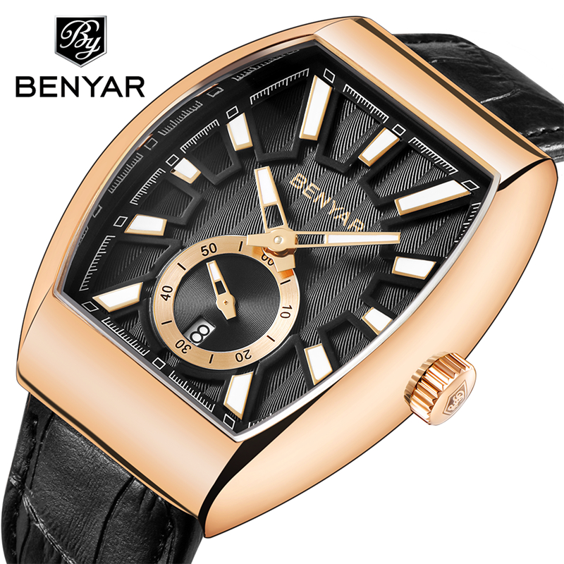 Relogio Masculino BENYAR Men Watches 2018 Luxury Brand Gold Silver Business Quartz Wrist Watch Leather Calendar Clock Dress Saat benyar original gold watch men watches top brand luxury leather business quartz wrist watch male clock saat relogio masculino