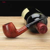 NewBee Handmade Briar Wood Tobacco Pipe 9mm Activated Carbon Bent Type Arylic Mouthpiece 148mm Length Smoking
