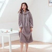 Winter New Gray Hooded Flannel Women Sleepwear Japan Korea Small Fresh Ladies Gray Warm Nightgowns Female Home Wear Pijama