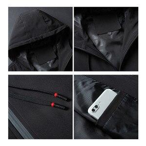 Image 5 - Heren Herfst Casual Lange Jas Trenchcoats Mannen Mode Hooded Solid Elastische Windjack Pocket Geul Jassen Mannelijke Kleding