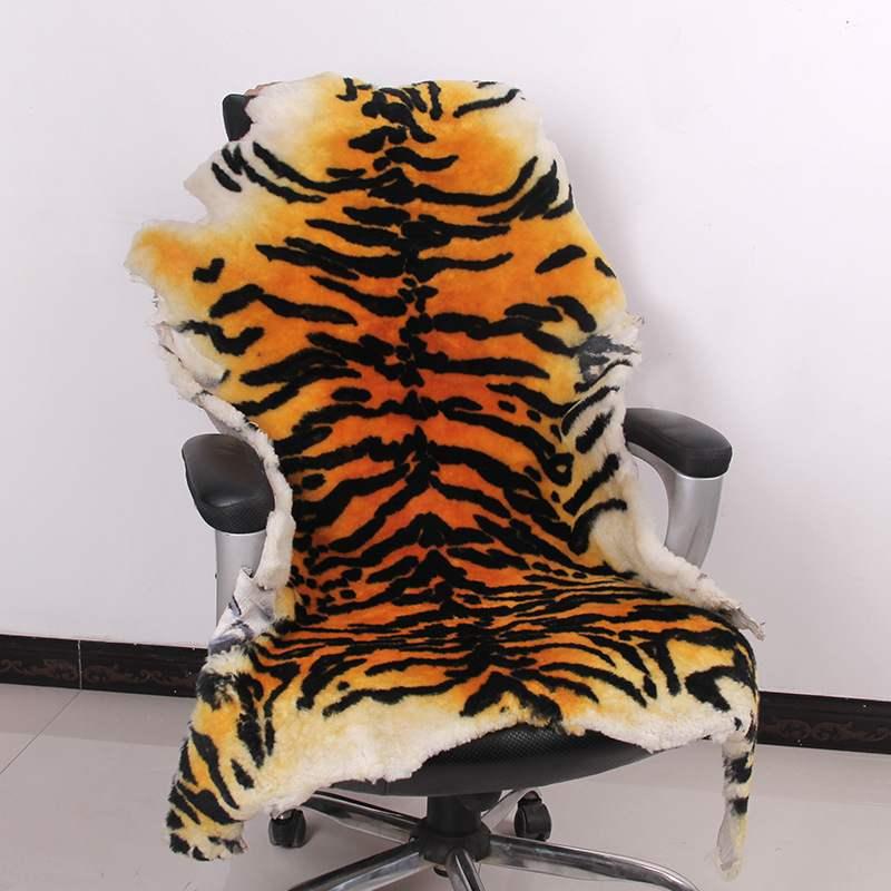 Haute qualité tapis australie pure laine cuir imitation peau de tigre tapis salon tapis chaise coussin siège animal couverture - 2