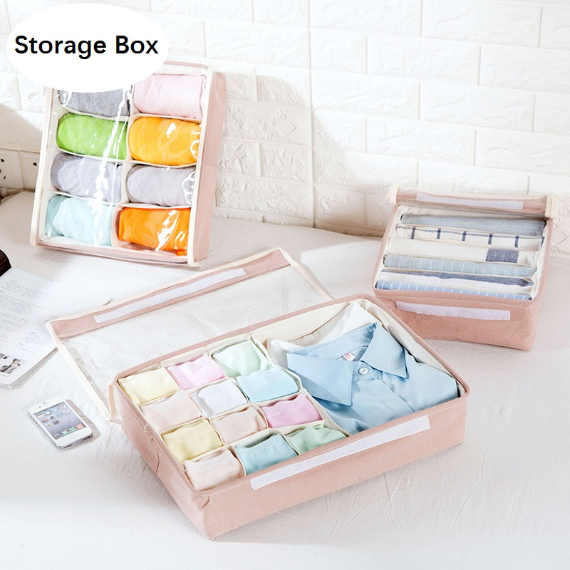 Closet:  Home Storage Box wiht lid Ties Socks Shorts Bra Underwear Storage Bins Cube Divider Closet Organizer Finishing box Cloth+PVC - Martin's & Co