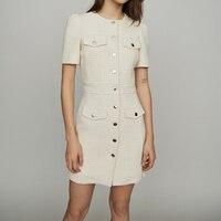 2019 New Women Mini Dress Tweed Single breasted Slim Dress