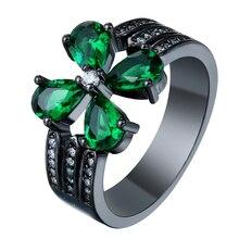 Винтажные черного и золотого цвета-цвет обещание кольца Новая мода Зеленый  цветочные украшения подарок принцессы c07222eecec