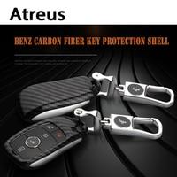 Atreus 1set Car styling carbon fiber key case cover fob holder For Mercedes benz logo fit new E class E300L E200L W213 Key chain