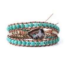 Natural Beaded Wrap Bracelet Female Handmade Boho Bracelet For Women Irregular Stripes Crystal Bead Leather Bracelet