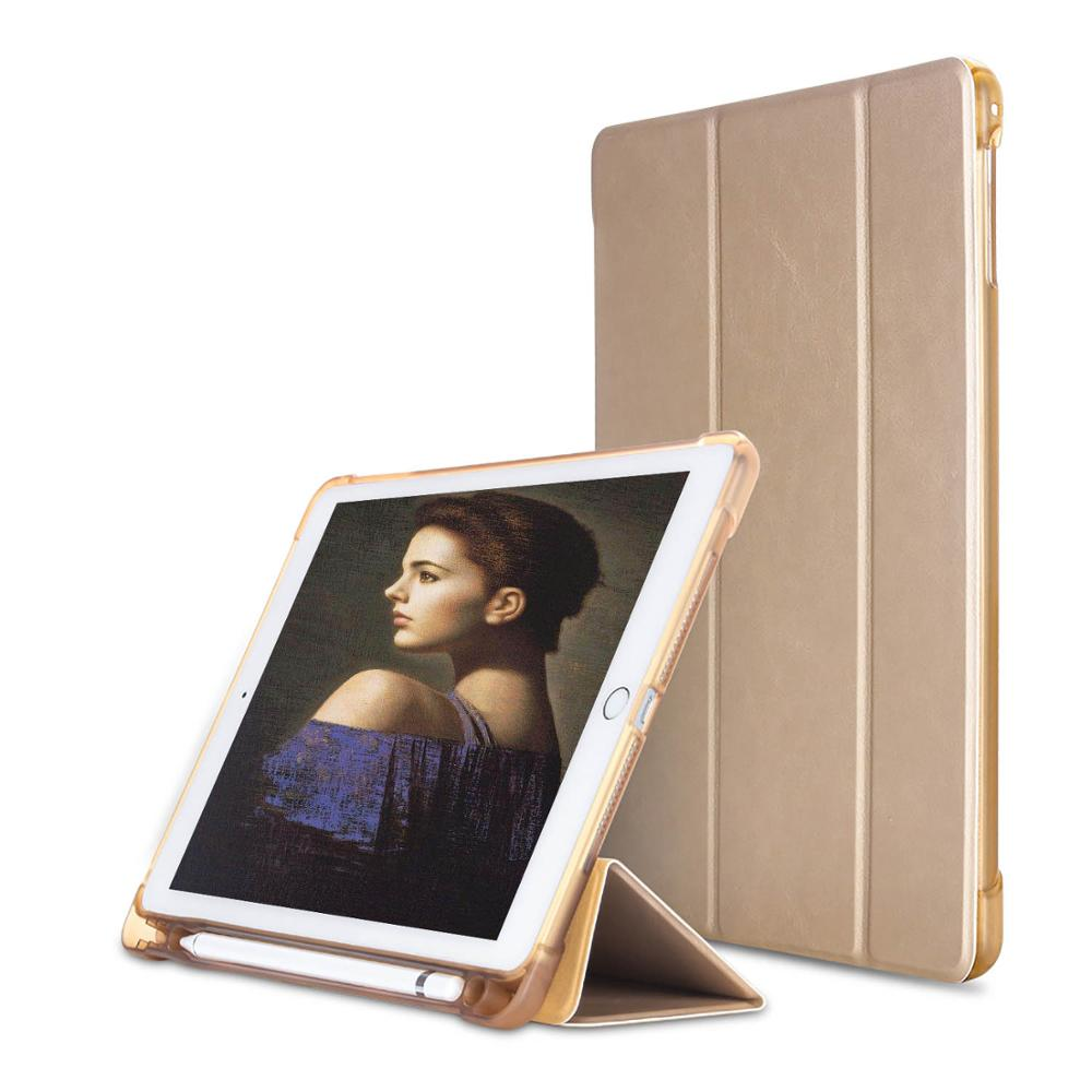For new ipad 2017 2018 model Case with Pencil Holder Slim Protective Smart Cover for iPad