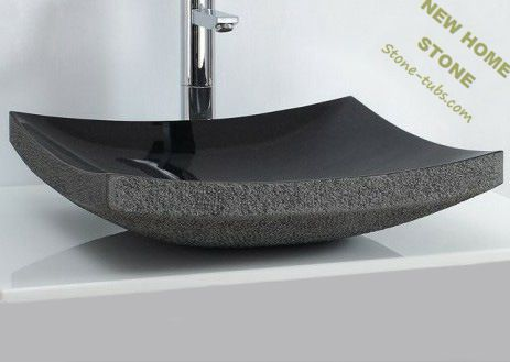 Modern bathroom vanity granite sink rectangular vessel bath design rough  litchi edges polish inside natural stone