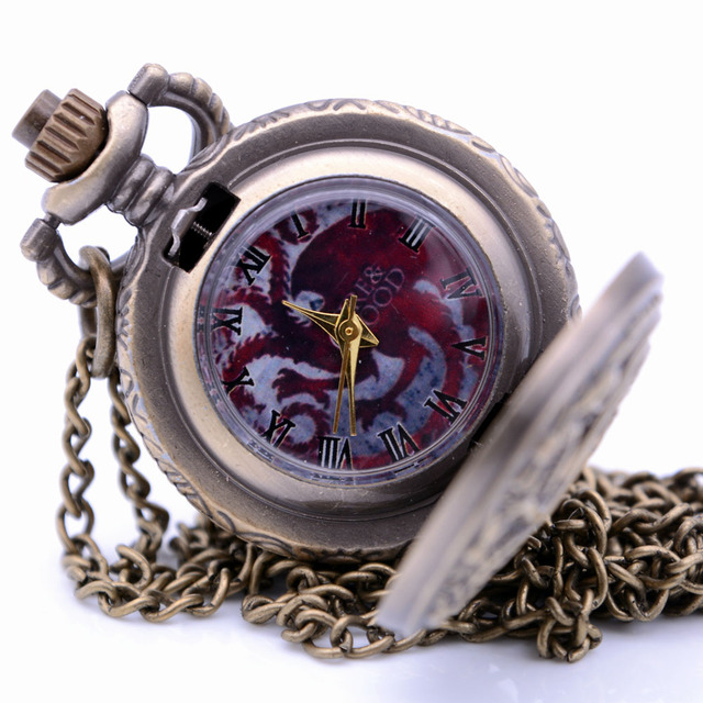 Small Size House Targaryen Blood and Fire Game of Thrones Mens Quartz Pocket Wat