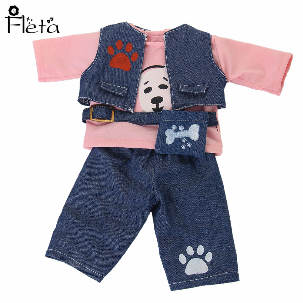 Fleta doll New Cartoon Doll Set 3 Piece Denim Vest + Pink Shirt Jeans for 18-inch American (No Toy Dog)