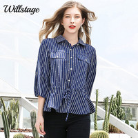 9351adbf8d6 Willstage Oversize Shirts Striped Dot Printed 5XL Plus size Ruffles Waist  Lace up Blouses Women New