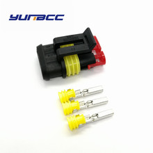 5sets tyco 3pin automotive waterproof super sealed plug wiring harness connector 282087-1 цена