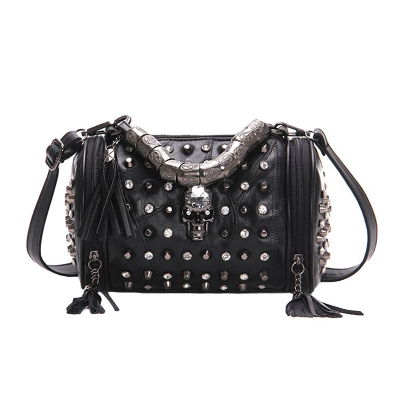 Women Tassels Shoulder Bag Hob-Nail Messenger Travel Bag Punk Crossbody Handbag Skull Decor For Party Dating Commuting  A69C