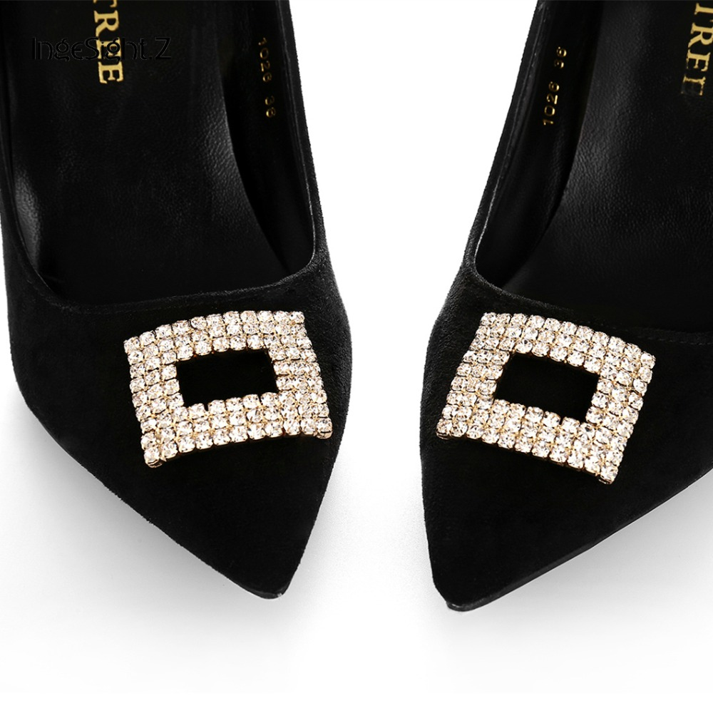 2Pcs WaterDrop Crystal Rhinestone Shoes Clips Women Summer Shoes Clip Toe
