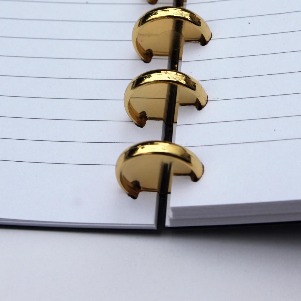 Devoserivce 6pcs Plastic Loose Leaf Book Binder Hinged Rings Keychain Bronze Album Notebook Folder Accessories School Supplies