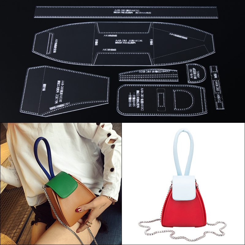 1set Shoulder Bag Women Handbag Template Clear Acrylic Leather Pattern DIY Leathercraft Sewing Pattern Stencils 14*15*14cm