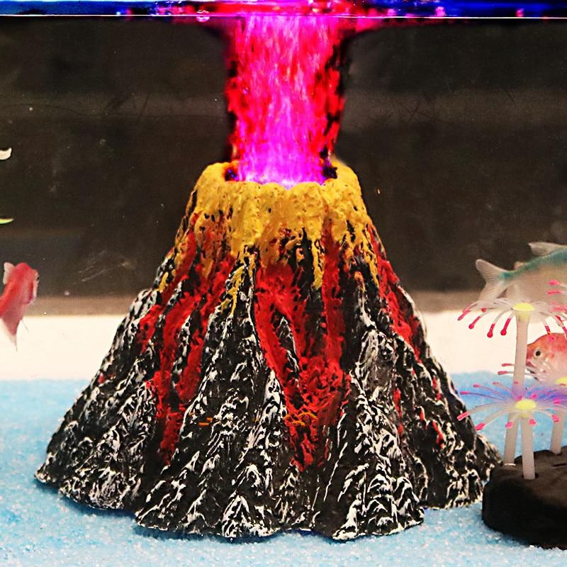 Pequeño / Grande Decoración Del Acuario Submarino Luz LED Volcán Ornamento Tanque de Peces Bomba de Aire Bomba de Aire de Aire Burbujas de Piedra Decoración