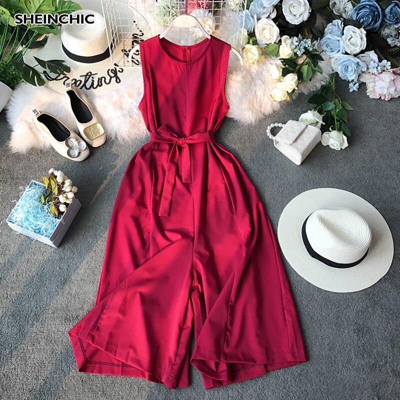 Korean Summer 2019 Retro O-Neck Lace Up Women Rompers Elegant Red Black Beige High Waist   Jumpsuits   Vintage Loose Playpsuits