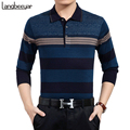 New Business Casual Mens T Shirts Fashion Trend High-grade Stripe Long Sleeve T Shirt Brand Clothing Turn-down Collar T-Shirt