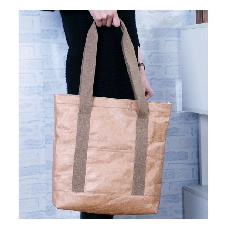 2018 Sac Kraft Paper Handbags Woman Vintage Ping Tote Bag Water Resistant Eco Shoulder Bags A Main Femme