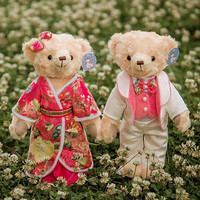 2pcs/lot 40cm kawaii upmarket Teddy Bear New Styles Soft plush toys Cute Couple Stuffed Teddy Bear Fantasy Wedding Birthday Gift