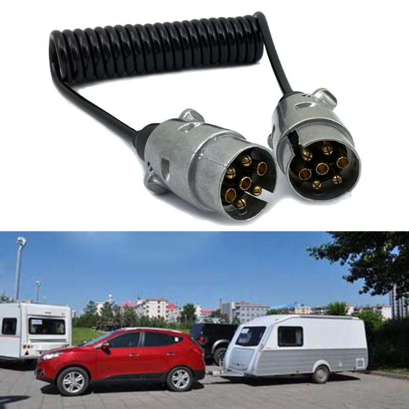 7 Pin Metal Trailer Plugs w/curly extension Cable Lead 1.5M Male To 12V Lighting Board Caravan