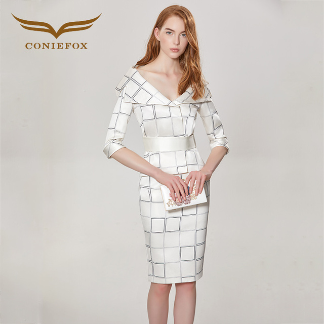 timeless design 18454 ceb94 US $338.0 |CONIEFOX 32156 bianco di Modo Sottile reticolo prom abiti da  sera Delle Signore vestito da partito dell'abito corto robe de soiree V  collo ...