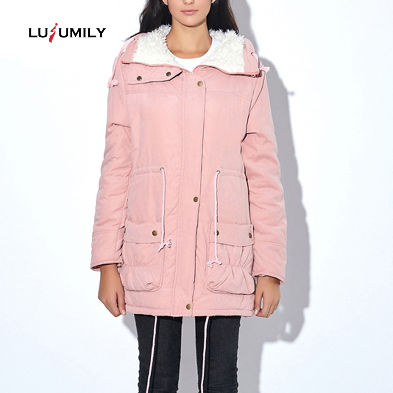 Lusumily 2019 Winter Jacket Women Wadded Jacket Female Outerwear Slim Winter Coat Long Cotton Padded Fur Collar   Parkas   Plus Size