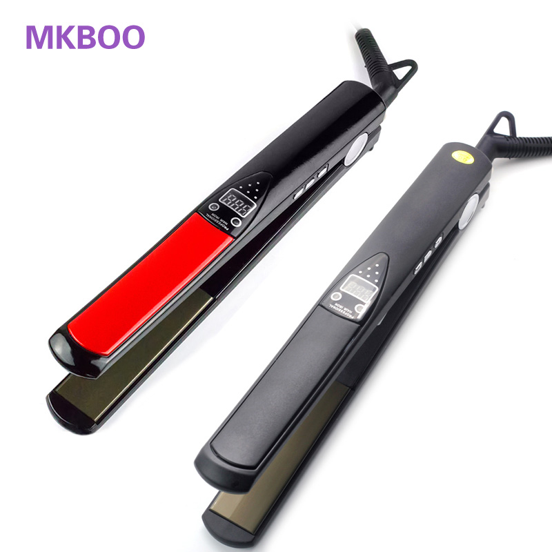 Shop2885047 Store   LCD Display Titanium Plates Flat Iron Straightening Irons Styling Tools Professional Hair Straightener EU US UK Plug