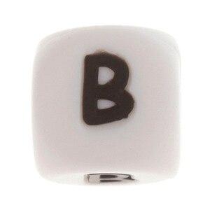 Image 5 - Perles de dentition Alphabet en Silicone, 100 pièces, 12mm, pour bébé infirmière, cadeau, de qualité alimentaire, ensemble rongeur