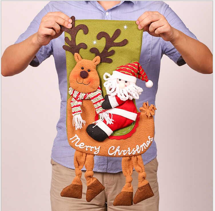 2018 новогоднее; рождественское чулки дети конфеты мешочек мешок Санта-Клауса Лось старик снеговик конфеты сумки благодарения носки