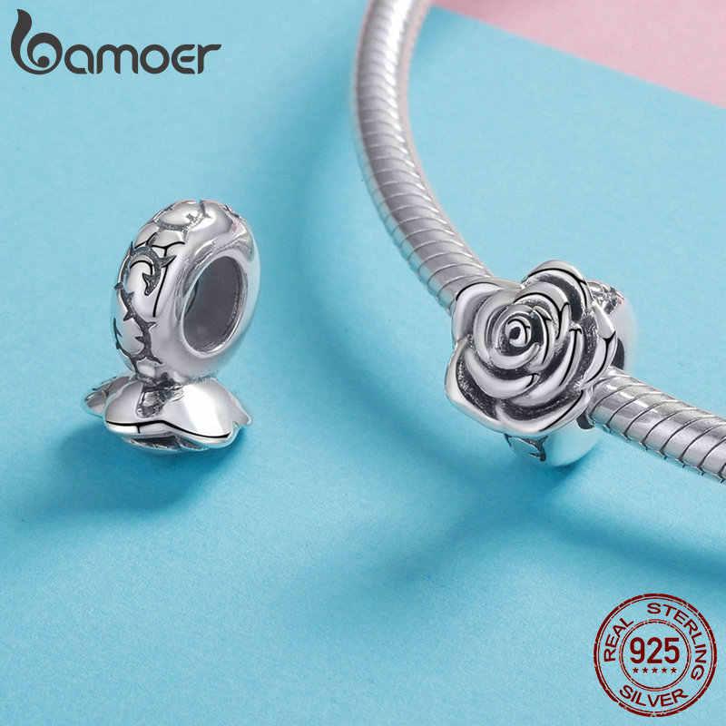 BAMOER ロマンチック新 925 スターリングシルバーローズ花芽ビーズフィットチャームブレスレット Diy ビーズスターリングシルバージュエリー SCC1101