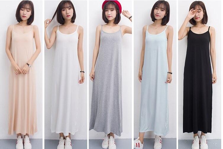 Long Full Slips Spaghetti x-Long Slip Modal Underdress Pure Color Comfortable Clothing for Women