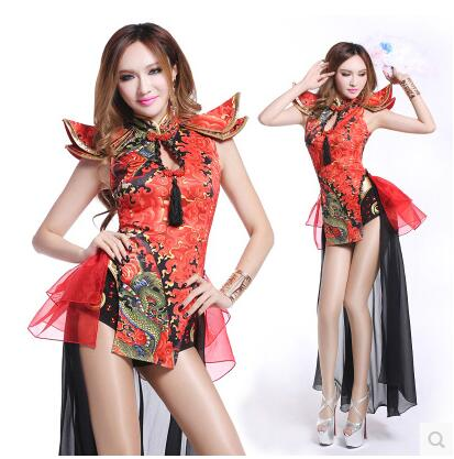 Chinas retro-style Cheongsam dance clothes flying clouds tail yarn Diamond Bar singer DS / DJ performances lead dancer clothes ...