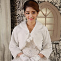 2015 Warm Faux Fur Long Sleeve Ivory Bolero Wedding Wrap Shawl Bridal Jacket Coat Accessories Free Shipping