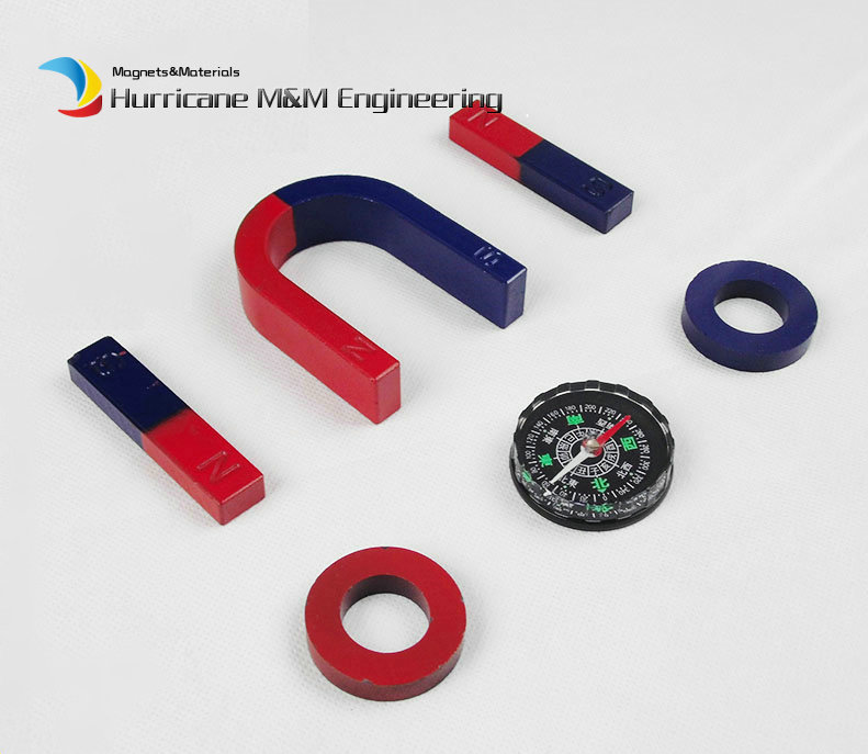 1 Set Ferrite Magnet Experiment Magnet Kits Middle Type Bar U and Ring with Compass blue red / Toy magnet Magnetic Teaching Tool ring ferrite magnet 3pcs pack dia60 32x10mm 60 10 32mm black magnet