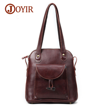 JOYIR Womens Backpack Genuine Leather Vintage School bags for Teenagers Girls Female Backpacks Women Travel Bags 3011