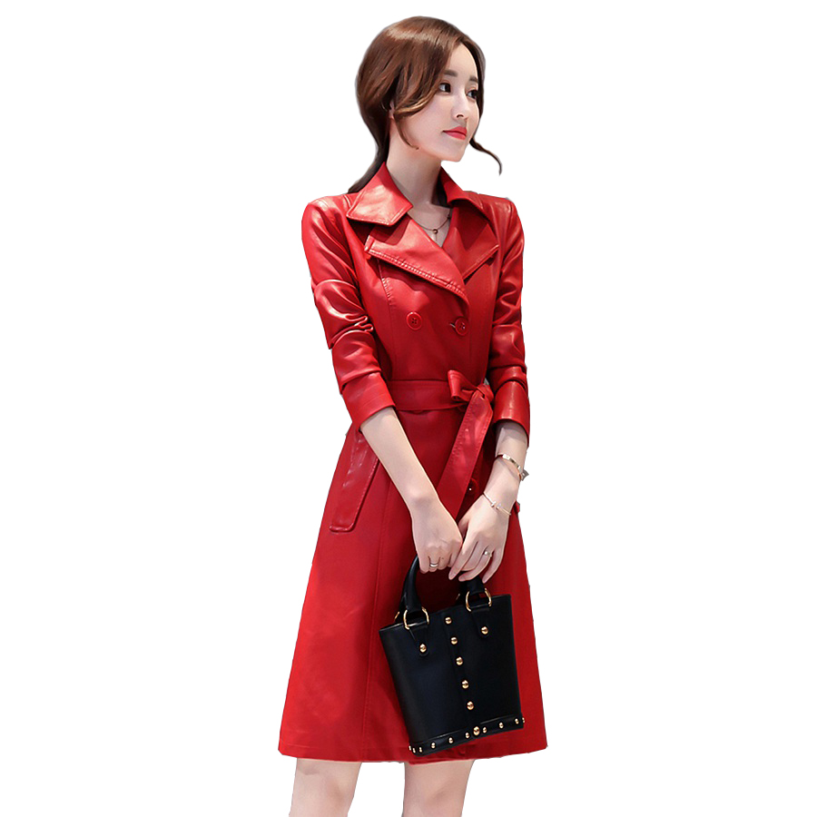 2018 Women New Long high quality   leather   jacket Fashion Turn-down Collar Long   leather   Windbreaker Double-breasted Coats
